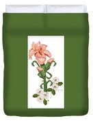Peach Colored Iris Botanical Duvet Cover