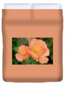 Peach Poppies Duvet Cover