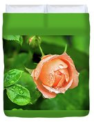 Peach Rose In The Rain Duvet Cover