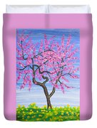 Peach Tree, Painting Duvet Cover