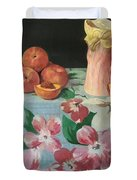 Peaches On Floral Tablecloth Duvet Cover