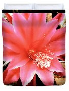 Peachy Pink Cactus Orchid Duvet Cover