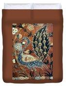 Peacock Among Flowers Duvet Cover