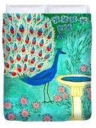 Peacock And Birdbath Duvet Cover