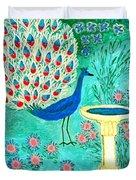 Peacock And Birdbath Duvet Cover by Sushila Burgess