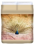 Peacock Bird Textured Background Duvet Cover