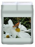 Peacock Butterfly On Cosmos Duvet Cover