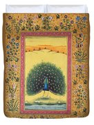 Peacock Dancing Painting Flower Bird Tree Forest Indian Miniature Painting Watercolor Artwork Duvet Cover