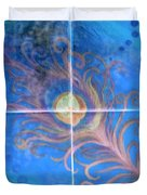Peacock Feather Abstract Duvet Cover
