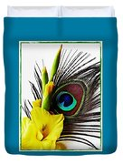 Peacock Feather And Gladiola 3 Duvet Cover