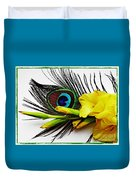 Peacock Feather And Gladiola 4 Duvet Cover