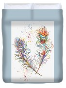 Peacock Feathers-colorful Duvet Cover