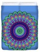 Peacock Fractal Flower 5 Duvet Cover