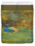 Peacock In A Garden Duvet Cover