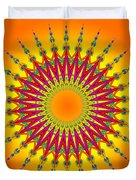 Peacock Sun Mandala Fractal Duvet Cover