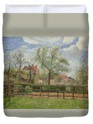 Pear Trees And Flowers At Eragny Duvet Cover by Camille Pissarro