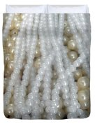 Pearl Beads - White And Beige Duvet Cover