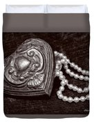 Pearls From The Heart - Sepia Duvet Cover
