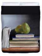 Pears And Books Duvet Cover