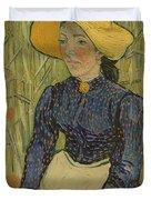 Peasant Girl In Straw Hat Duvet Cover