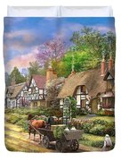 Peasant Village Life Duvet Cover