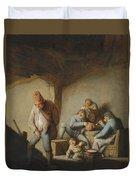 Peasants In The Interior Of An Inn Duvet Cover