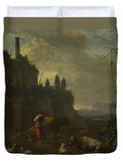 Peasants With Cattle By A Ruin Duvet Cover