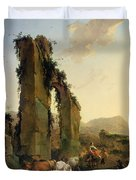 Peasants With Cattle By A Ruined Aqueduct Duvet Cover