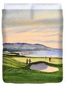 Pebble Beach Golf Course 9th Green Duvet Cover