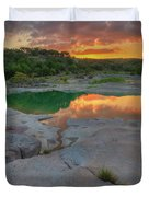 Pedernales River Sunrise, Texas Hill Country 8257 Duvet Cover