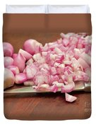 Peeled And Chopped Shallots Duvet Cover