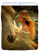 Pegasus Or Angel Duvet Cover by Harry Warrick