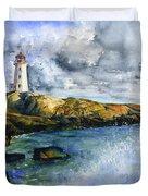 Peggy's Cove Lighthouse Landscape Duvet Cover