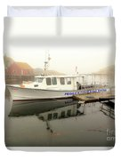 Peggy's Cove Tours Boat In The Rain Duvet Cover