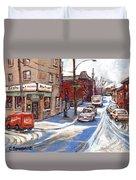 Peintures De Montreal Paintings Petits Formats A Vendre Restaurant Machiavelli Best Original Art   Duvet Cover