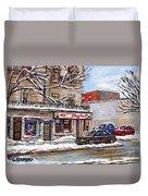 Peintures Petits Formats A Vendre Montreal Original Art For Sale Restaurant Chez Paul The Pointe Psc Duvet Cover
