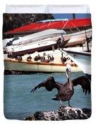 Pelican Drying Wings Duvet Cover