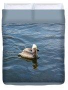 Pelican Eating Dinner Duvet Cover