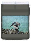 Pelican In Aruba Landing On Lava Rock Duvet Cover