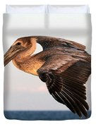 Pelican In Flight At Sunset Duvet Cover