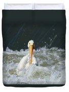 Pelican In Rough Water Duvet Cover