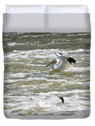 Pelican Landing And Cormorants Duvet Cover