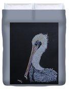 Pelican On Black Duvet Cover