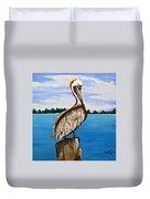 Pelican On Post 2 Duvet Cover