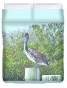 Pelican On Post Duvet Cover