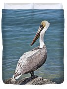 Pelican On Rock Duvet Cover