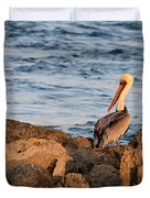 Pelican On The Rocks Duvet Cover