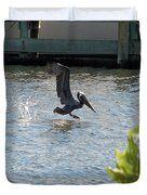 Pelican On The Waves Duvet Cover