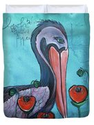 Pelican Poppies 1 Duvet Cover