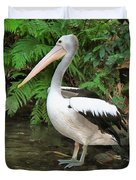 Pelican With A Bird Park In Bali Duvet Cover